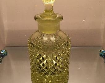 Vintage Perfume Bottle Yellow Vaseline Glass Beautiful Diamond Pattern 6 3/4 Tall Outstanding Color Fenton?
