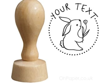 BUNNY - Personalised Rubber Stamp - your text - Tags  Favours stamp - Invitations Stamp  - Thank you - personalized / custom / bespoke