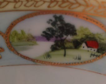 Antique, hand painted, LARGE porcelain platter