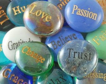 Engraved Colored Glass Word Stones - Single Words