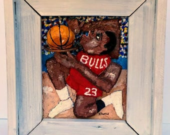 Basketball Player:  Original 3D Mixed Media  Art Painting Gift Football Reclaimed Wood Frame