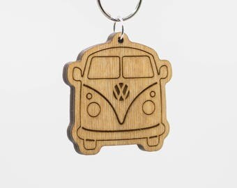 VW Bus Keychain - Volkswagen Bus Wooden Key Ring - VW Split Screen - VW Camper Van - Kombi Microbus Minibus Type 2 Splitty Combie Charm
