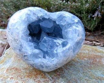 Large Blue Celestite Heart Clusters