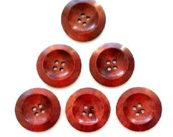 6 x 30MM Saucer shape Plain Brown wooden buttons