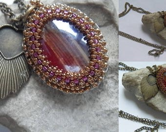 Woven purple and bronze necklace