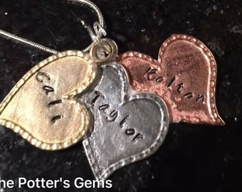 3 Heart Multi Metal Mother/Grnadmother's Necklace