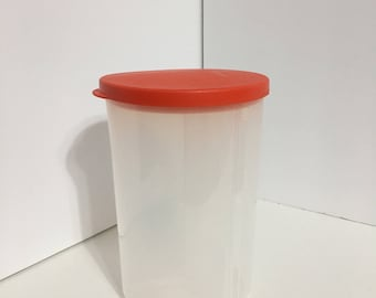 Vintage Red Lid 3 Divided Tupperware Canister