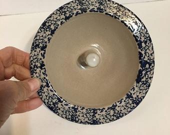 Original Apple Baker Blue Sponge Ware Pottery Maine