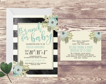 Brunch for Baby Shower Invitation with Book Insert Card, Floral Baby Shower Invite, Baby Sprinkle, Couples Baby Shower Invitation