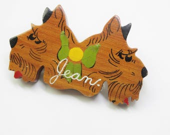 1940s Large Carved Wooden Pair of Novelty Figural Scottie Dogs Jean Brooch Hand Painted