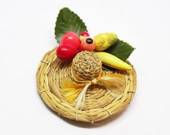 Vintage Straw Hat Fruit Brooch Novelty Pin with Fruit