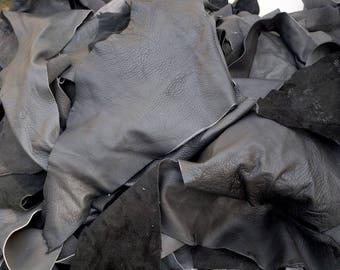 Grey Cowhide pieces/remnants 2-3 hands cow hide supple leather scrap off-cuts
