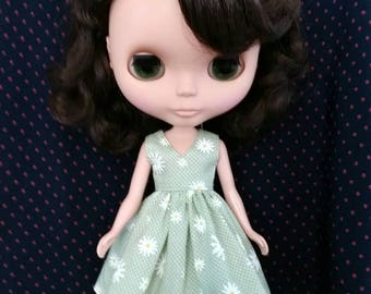 Blythe Doll Outfit flower print green Dress and hair now set