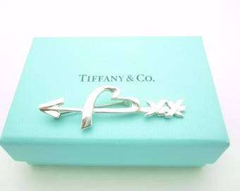 Tiffany & Co. Sterling Silver Paloma Picasso Loving Heart Arrow Pin or Brooch