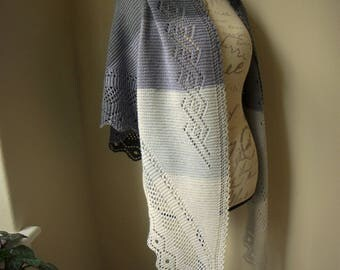 Lace Shawl Hand Knit in Gradient Grays