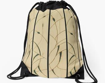 Drawstring Shoulder Bag - Backpack w/Delicate Solar Etched Design ~ 'Cattails' / Sophisticated, Classy, Unique— Solar Art ~ Solar Pyrography