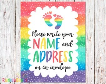 PRINTABLE Rainbow Baby Shower Party Sign, Name And Address Sign, Printable Baby  Shower Sign