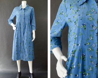 Vintage 80s Dress, Corduroy Jumper Dress, Floral Grunge Dress, Blue Long Maxi Dress, Button Up Dress, Shirt Dress, Women's Size 12 -14