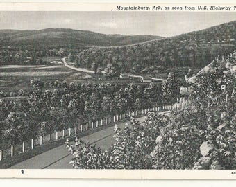 1940s BW Photo Postcard- View of Mountainburg from U.S. 71, Arkansas, AR. ~ Crawford County ~ Free Shipping ~ Extremely Small Town