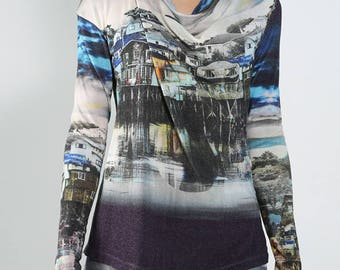 off white printed sweater landscape Ireland wool viscose