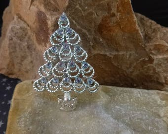 Silver Blue BJ (Beatrix) Timeless Christmas Tree Brooch | Blue Rhinestones with Double Loops Vintage Pin | Book Piece