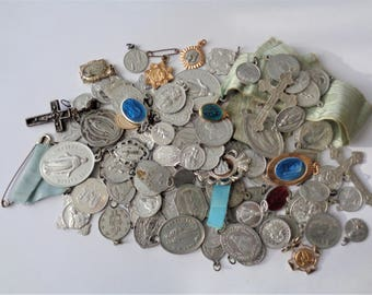 One Lot 100+ Old and Vintage Religious Medals