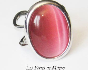 Pink color cat eye Cabochon ring