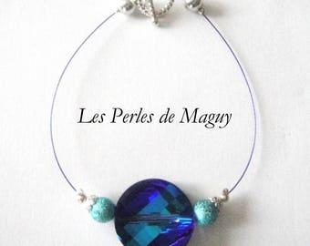 Simple sapphire blue swarovski twist Bead Bracelet