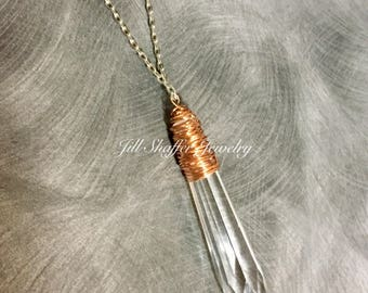 Necklace with Wire Wrapped Chandelier Crystal Pendant