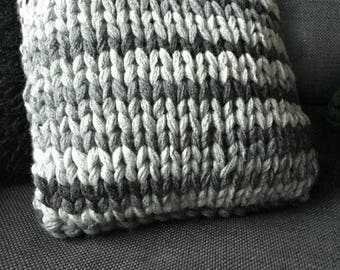 Chunky Knit Shades of Gray Pillow, 13x13 or 17x17