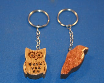 Handcrafted wood owl and bird key chain