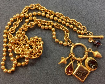 Nice Brushed Gold Tone and Rhinestone Toggle Clasp Necklace. Free shipping