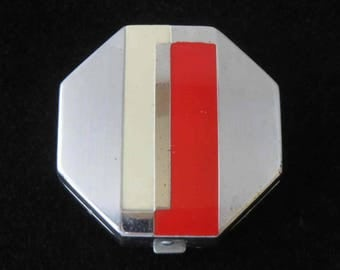 BARBARA GOULD Art Deco Red & White Enameled Double Powder and Rouge Compact