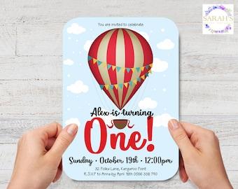 Custom Edited 1st Birthday Invitation - JPG / PDF - Hot Air Balloon - Photo Insert optional - 7 x 5 inch or 5 x 7 inch size