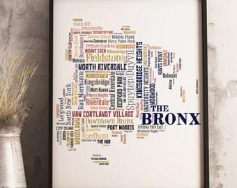 Bronx Map Art, Bronx Art Print, Bronx Neighborhood Map, Bronx Typography Art, Bronx Poster Print, Bronx Word Cloud