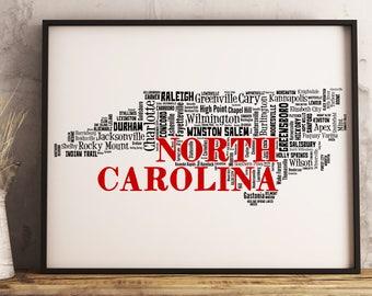 North Carolina Map Art, North Carolina Art Print, North Carolina City Map, North Carolina Typography Art, North Carolina Wall Decor
