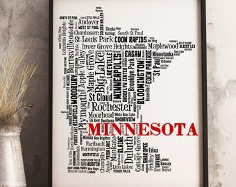 Minnesota Map Art, Minnesota Art Print, Minnesota City Map, Minnesota Typography Art, Minnesota Wall Decor, Minnesota Moving Gift