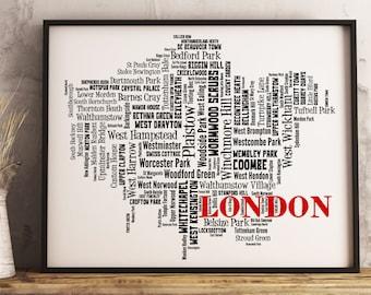 London Map Art, London Art Print, London Neighborhood Map, London Typography Art, London Wall Decor, London Moving Gift