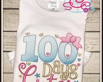 100 Days of School Shirt--100 Days Cuter--Girls School Shirt--100 Days Shirt