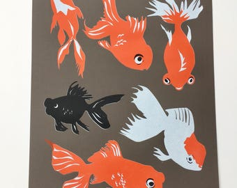 Goldfish Limited Edition silk screen print three colour on Murano paper wall art hand pulled Unframed by Alison Bick