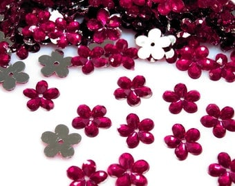 50 encristal transparent red pink Fuchsia flowers