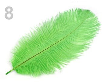 1 25 cm 8 green ostrich feather