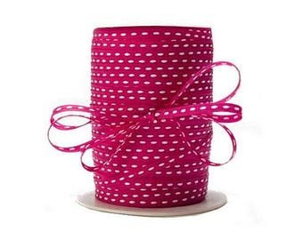 Grosgrain 3 mm hot pink Center stitching