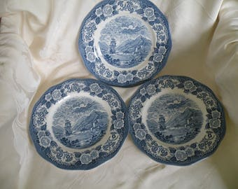 3- Dinner Plates Royal Warwick Loch Ness, Royal Warwick China, Blue and White China , English China, Made in England