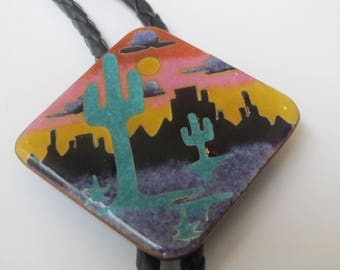 Handcrafted Multi Tone Cactus Desert Scene  Modernist Enamel  on Copper Shield Bolo Tie IC Lot 16