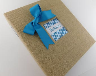 Baby Book Boy Baby Memory Book Burlap Baby Book Girl Baby Book Teal Blue Chevron Scrapbook Personalized Rustic baby Shower gift Album