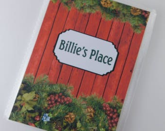 Christmas Photo Album Family Memories Holiday Personalized Country Redwood Wreath Greenery 4x6 or 5x7 Pictures 705