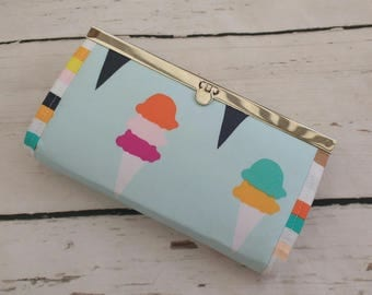 Ice Cream Sorbet Purse / Wallet. Silver nickel metal flip lock frame. 100% Cotton. Coins, notes, mobile phone, cellphone, receipts.