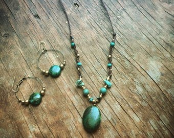 TRIBAL Chrysocolla BRASS Necklace AND Hoop earrings  Set bohemian Gypsy necklace