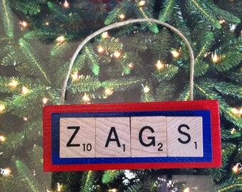 ZAGS Gonzaga University Bulldogs Christmas Ornament Scrabble Tiles